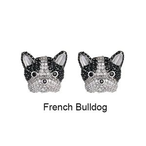 🆕💎 French Bulldog Dog Pave Crystal Stud Earrings